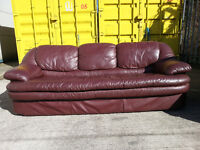 Red/Purple 3 Seater Leather Couch Sofa - DELIVERY AVAILABLE