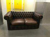Genuine chesterfield leather sofa, Free delivery
