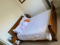 Oak sleigh bed, king size