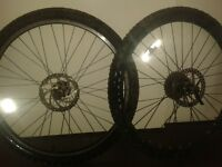 pair of disc brake 26 inch rims with tyres mint condition £10