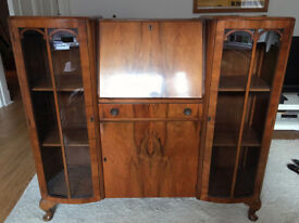 Vintage antique walnut bureau/display cabinet