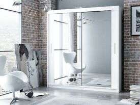 BEST FURNITURE--Berlin 2&3 Sliding Doors Wardrobe In 5 Sizes & In Multi Colors- CALL NOW