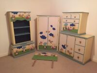 Kids Nursery Bedroom Furniture with 3D Farm Characters matching curtains and single bed Douvet Set