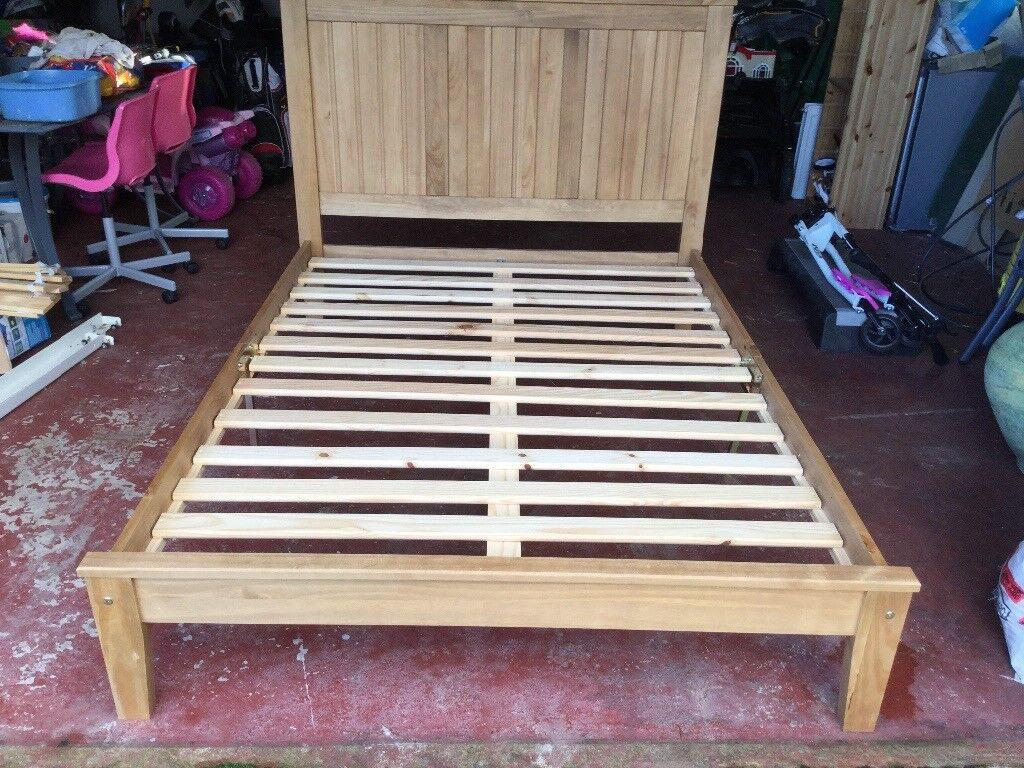 Oak wooden bed - double bed