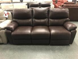 High retail brown leather 3 seater sofa