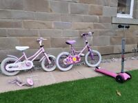 2 Child's bikes and Scooter