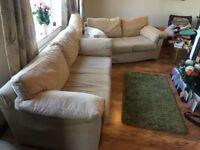3 seater and 2 seater cream sofa