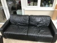 Next Black Leather 3 Seater Sofa