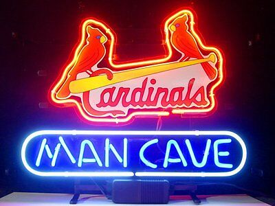 "New St Louis Cardinals Bar Real Glass Man Cave Neon Sign 17""x14"""