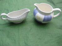 White Gravy Stoneware Jug and General Purpose China Jug - 2 for £2.00