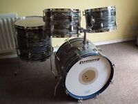 1960s Vintage Ludwig drum kit in Blue oyster pearl finish