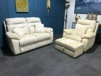 Cream and grey suite Grey 2 seater sofa cream recliner armchair and storage pouffe