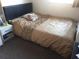 Brown double leather bed frame