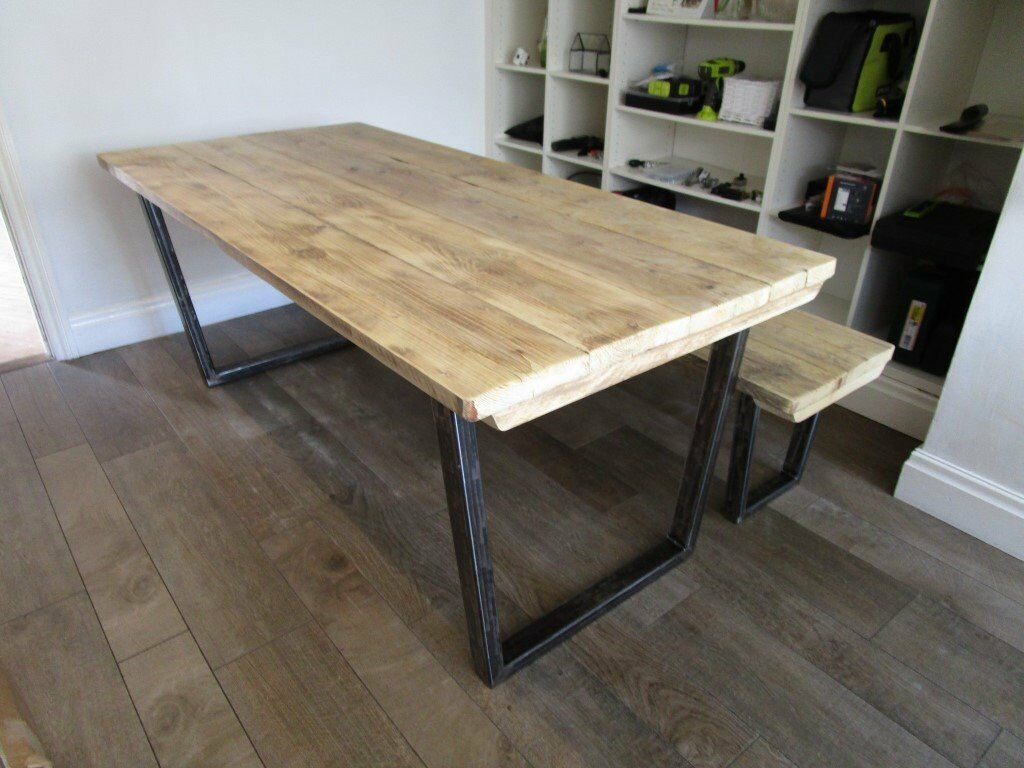 Dining table and bench reclaimed wood tops industrial metal base vintage stayle