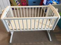 Mothercare White Swinging/Fixed Crib with Mattress for Sale - Excellent condition