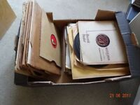 vintage box of about 60 old 78 rpm records mixed media