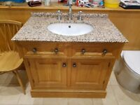 Traditional Hand Built Oak Basin Unit with Granite Work Top and Taps