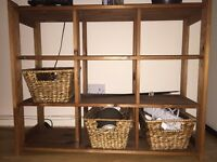 Pine shelf storage unit with 3 baskets - perfect condition