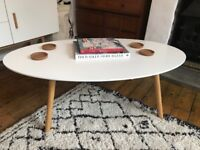 MADE danish design coffee table white oval top with pale wooden legs sold out