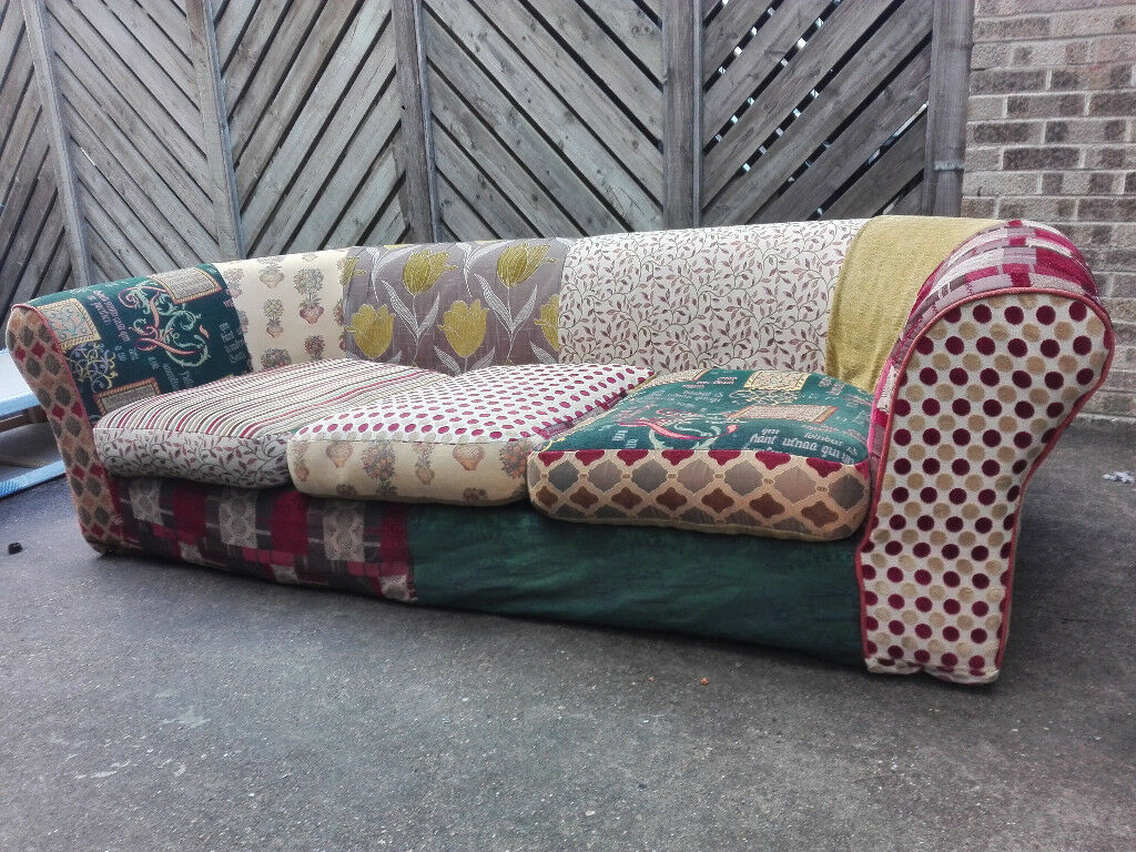 Amüsant Sofa Patchwork Referenz Von Massive Unique Colourful 3 Seater Settee In