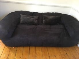 Must go ASAP: taking offers! 2-3 seater beanbag sofa black suedette. Kentish Town.