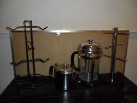 BOX KITCHEN STUFF - CAFETIERE TEA POT & 2 MUG STANDS STAINLESS STEEL CHROME - BRIC A BRAC / CAR BOOT