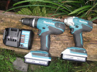 Makita 18v Cordless Hammer Drill & Impact Gun, 2 Battery, Charger Cost £220! GREAT CONDITION!