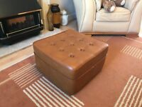 1960's Vintage Retro Tan Sherborne Foot Stool Stool Pouffe Footstool