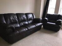 Leather Sofa & Armchair