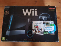 Nintendo Wii Black console Mario Kart Wii Pack bundle with games USED