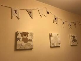 Nursery pictures, bunting & light shade