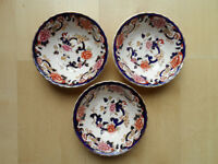 "MASONS BLUE ""MANDALAY""PATTERN 6.25"" WIDE SOUP/CEREAL BOWLS X3"