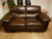 Brown leather sofas, 2 seater and 3 seater GOOD CONDITION.
