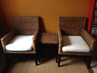 Bamboo Style Rattan Chairs & Side Table