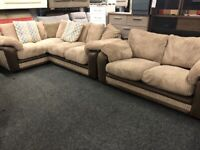 NEW - EX DISPLAY DFS CORD CORNER SOFA + 2 SEATER CORD SOFA 70%Off RRP