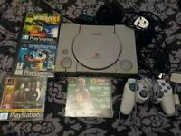 Sony PlayStation 1. PS1 console. With games