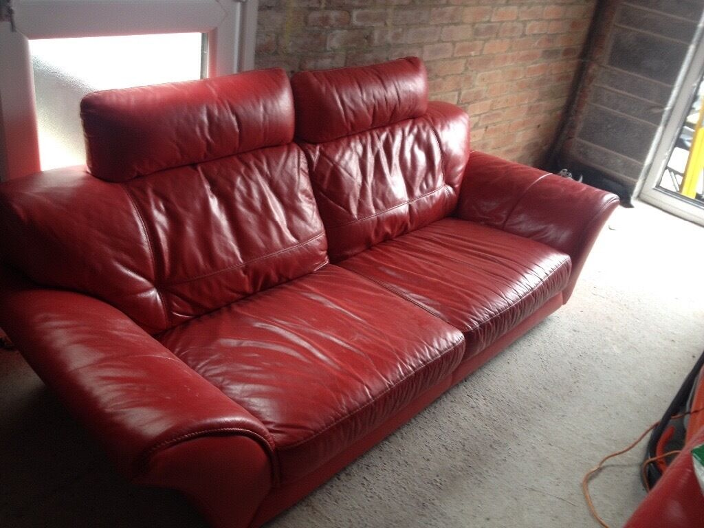 Sofa Dfs Three Seater Red Leather Sofa Footstool In Swansea Gumtree