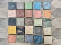 Reclaimed Multi Coloured Square Cement Tiles