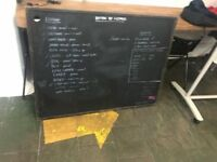 Dry erase whiteboard, blackboard and small white side table