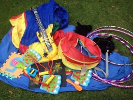Large Bag Of Toys Plus 25 Blow Up Guitars and Hula Hoops- Suit Club or Parties