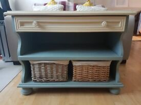 Shabby chic TV Media Storage Unit with Removable Drawer and Sliding Shelf and Wicker Baskets
