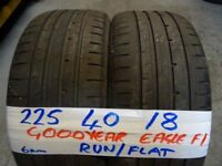MATCHIN PAIR 225 40 18 GOODYEAR RUNFLATS 6MM TREAD £80 PAIR SUPP & FITD loads more 18s avail txt siz