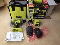 New Ryobi cordless 18v hammer drill, 2 batteries, charger and carry bag - £85 ovno