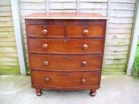 Antique Victorian Mahogany Bow Fronted Chest of Drawers Bun Feet
