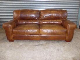 Large Vintage Look Tan Full Hide Leather Sofa (Suite)