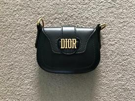 Dior D-Fence Mini Saddle Bag in Black Calfskin