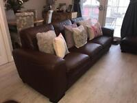 DFS Brown Real Leather Sofa with Chair and foot stool