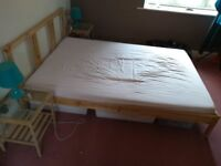 Wooden bed + 2 night tables