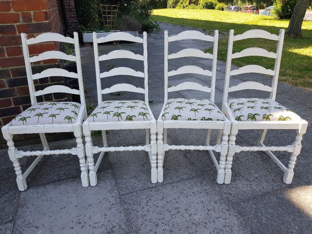 Rustic shabby chic vintage ladder back dining chairs with palm tree ...