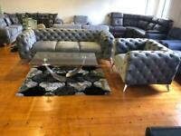 Chesterfield 3 seater & armchair grey plush fabric